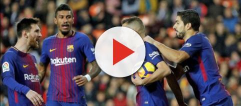 Los jugadores del FC Barcelona celebran uno de sus goles