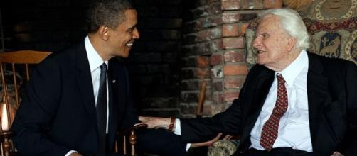 Billy graham wiht President Obama - Image credit - The White House from Washington, DC | YouTube