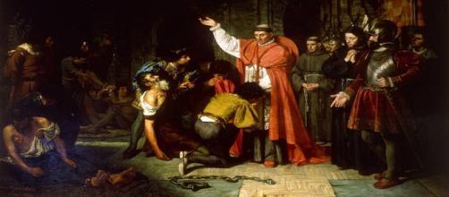 'El cardenal Cisneros liberando a prisioneros cristianos en Orán', de Francisco Jover y Casanova