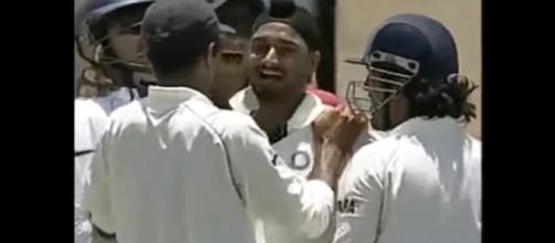 Harbhajan celebrating a wicket with Dhoni. - [Image source: Power/YouTube screencap]