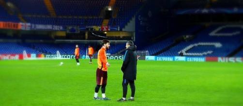 Leo Messi y Ernesto Valverde en Stamford Bridge