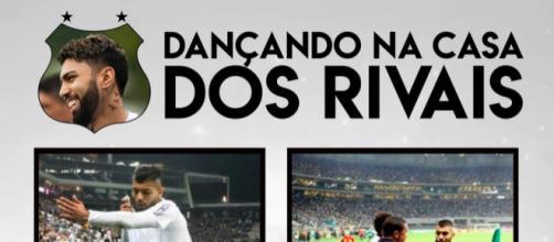 Postagem fez referência aos gols anotados na casa dos rivais.
