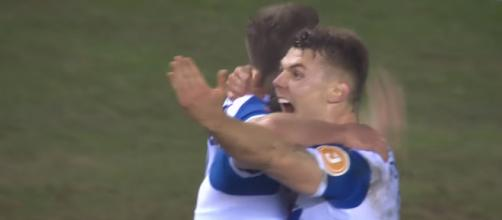 Wigan celebrates after late winner [Image source: The Emirates FA Cup/YouTube]