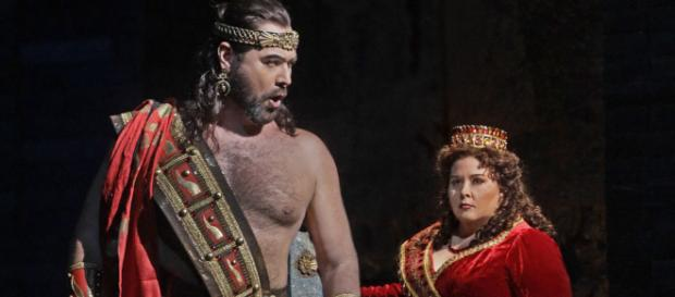 Ildar Abdrazakov as Assur and Angela Meade in the title role of Rossini's 'Semiramide.' Photo: Ken Howard/Met Opera, used with permission.