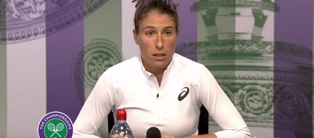 Johanna Konta during a press conference at 2017 Wimbledon/ Photo: screenshot via Wimbledon channel on YouTube