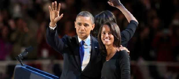 Malia Obama com o pai Barack, quando era presidente