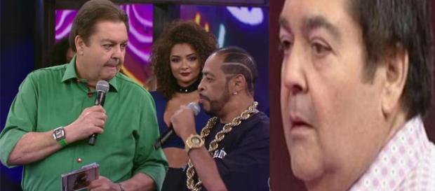 """Thaíde """"entrega"""" participação do """"Ira!"""" no """"Ding Dong"""" ao vivo no """"Domingão do Faustão"""" (Reprodução/TV Globo)"""