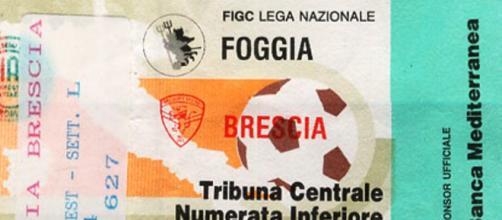 Un biglietto di Tribuna Centrale di Foggia-Brescia del 07/03/1993, match terminato 0-0