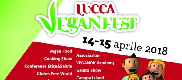 La locandina del VeganFest 2018 che si terrà a Lucca in aprile.