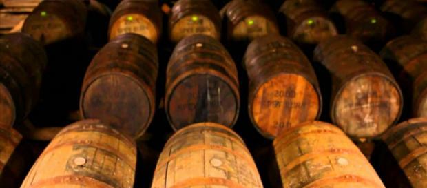 Los barriles de whisky están siendo añejados en uno de los almacenes de barriles en la destilería Jack Daniel's en Lynchburg.