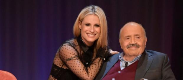 Michelle Hunziker con Maurizio Costanzo
