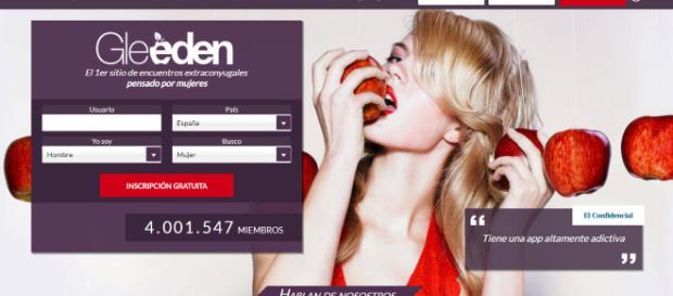 Página oficial de Gleeden. En la que rememora en el momento en que Eva mordió la manzana en el paraíso