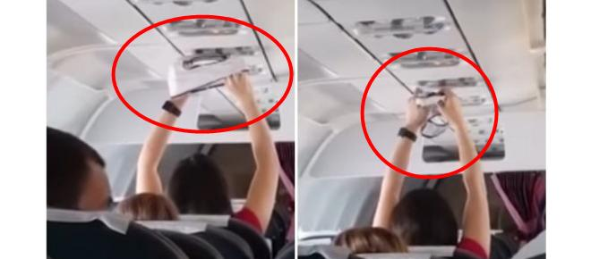 Mulher é filmada secando calcinhas dentro de avião em pleno voo; veja o vídeo