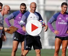 Zinedine Zidane durante un entrenamiento del Real Madrid