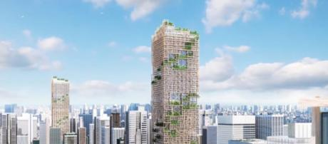 Named W350, the wooden high-rise structure will have a total of 70 stories. [Image credit: Sumitomo Forestry]