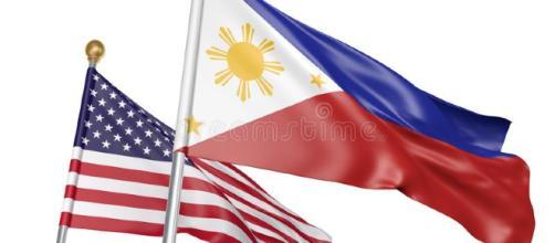 Banderas Aisladas De Filipinas Y De Estados Unidos Que Vuelan ... - dreamstime.com