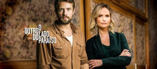 Fabiana e Renato, contra Clara, na novela das 9 da Rede Globo. (Montagem/Telma Myrbach)