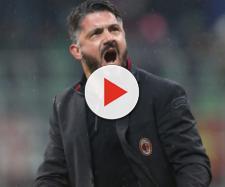 Gattuso esulta a San Siro sulla panchina del Milan