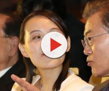 Kim Yo-Jong, sorella del dittatore nordcoreano Kim Jong-un, insieme al presidente sudcoreano Moon Jae-in
