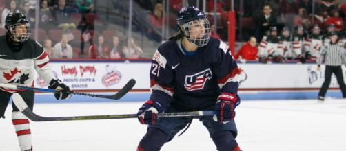 Hillary Knight led Team USA to a gold medal against Team Canada. Photo Credit: Wikimedia Commons/BDZ Sports/CC 4.0