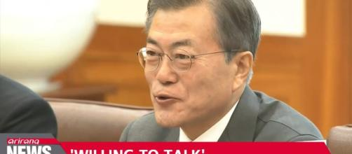 Moon says North willing for talks with USA. Photo-Image credit Airana news-Youtube.com
