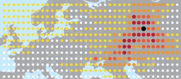 El mapa de concentración del isótopo radiactivo rutenio-106, el más grande, en el área de Argayash, a 30 km del Mayak Combine.