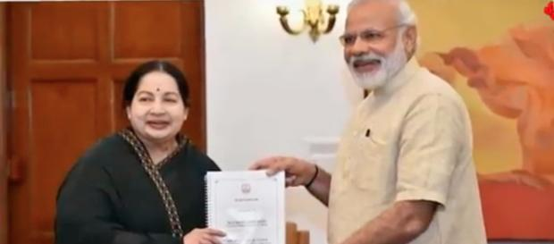 Jayalalithaa with Narendra Modi [Image Credit: Univrsal Media Pro/YouTube]