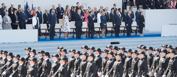 President Trump watches French National Day Parade (Image credit - Andrea Hanks, Wikimedia Commons)