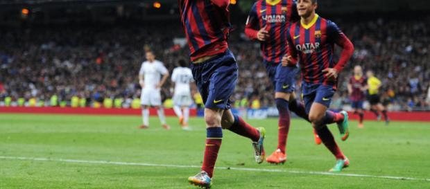 Messi celebra su gol y sumo a su impresionamte record
