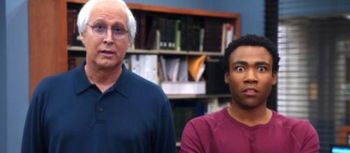 Chevy Chase as Pierce Hawthorne and Donald Glover as Troy Barnes in an episode of the NBC sitcom 'Community'(Image Credit: NBC/Youtube screencap)