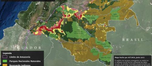 Puntos calientes de deforestación principales en Colombia. Mapa hecho por Amazon Conservation Team & Amazon Conservation, junio 2017.