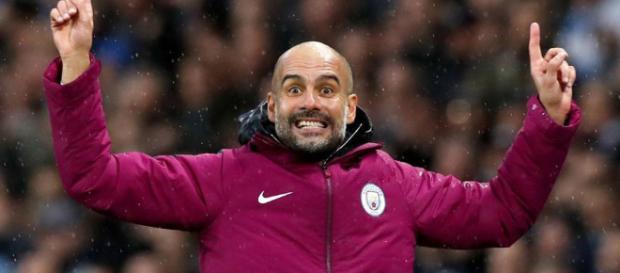 Pep Guardiola celebrando la victoria