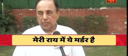 Subramaniam swamy feels it is murder- (Photo-Image credit ABP news-Youtube.com)