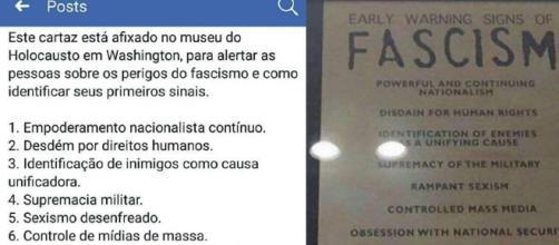 Placa à venda no Museu do Holocausto alerta sobre os sinais do fascismo