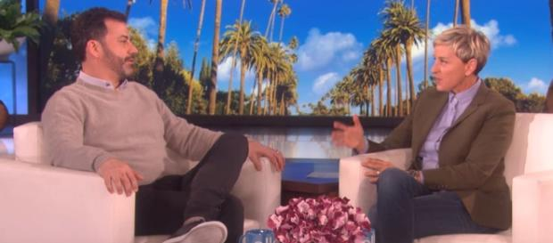 Ellen surprises Jimmy Kimmel with a dedication to his son. - [TheEllenShow / YouTube screencap]