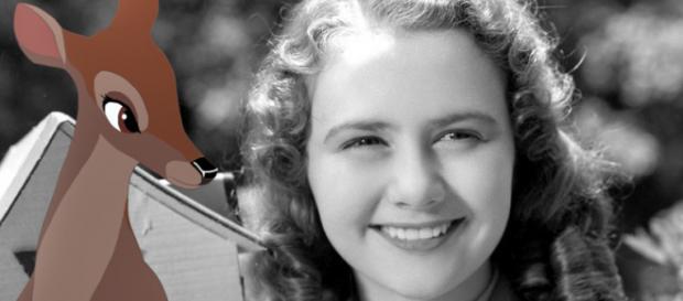 A atriz Ann Gillis e a personagem Faline, que ela dublou em ''Bambi'' (1942)