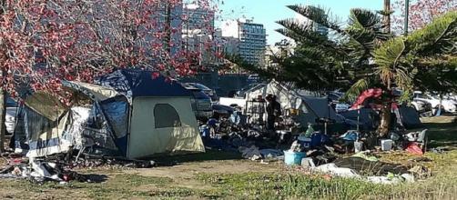 Homeless camp in Oakland, Ca. - [image courtesy of NeoBatfreak Wikimedia Commons]