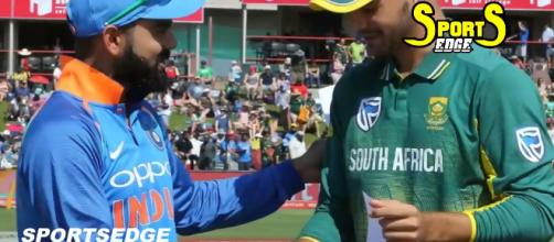 The two skippers going for the toss. Photo- (Image credit: Sports Edge/Youtube screencap)