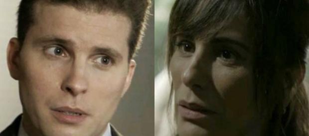 Duda/Elizabeth se descuida e Patrick descobre o seu segredo em O Outro Lado do Paraíso (Foto: TV Globo)