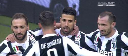Esultanza dei giovatori della Juventus