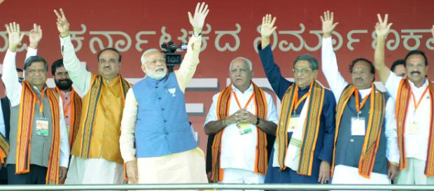Modi addresses a mega rally in Bengaluru- (Image : Deccan Herald/Youtube)