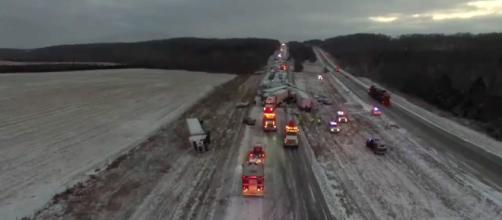 """A """"Dancing with the Stars"""" tour bus was caught up in a multiple vehicle crash near Ames, Iowa [Image credit: NBC4 WCMH-TV Columbus/YouTube"""