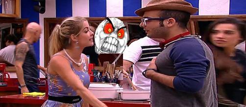Jaqueline e Mahmoud brigam feio no BBB18.