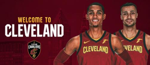 Jordan Clarkson and Larry Nance Jr. have been traded to the Cavs. [image source: Cavs channel/Youtube screenshot]