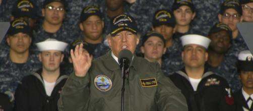 Trump touts plans to bolster military aboard new aircraft carrier ... - go.com
