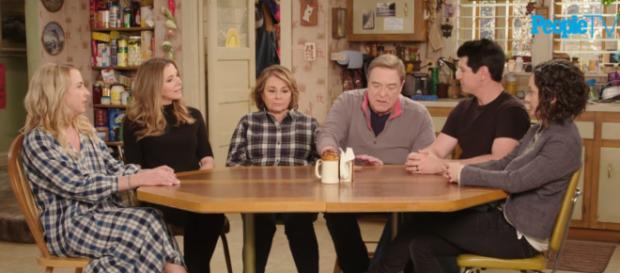 Cast of rebooted 'Roseanne.' (Image via People TV/YouTube screencap).