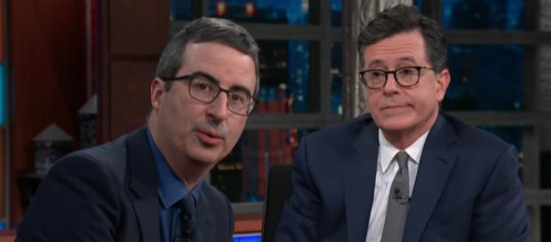 Colbert asked John Oliver his views on the upcoming royal wedding [Image The Late Show with Stephen Colbert/YouTube]