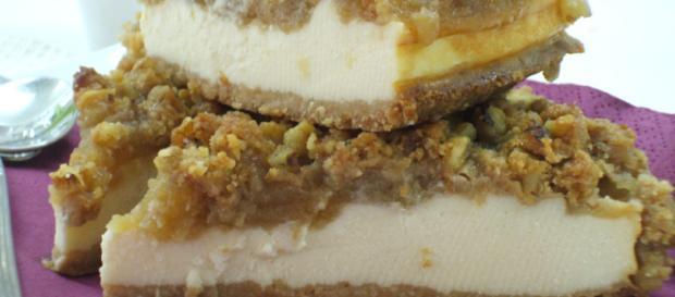 Mis bizcochos caseros: Tarta de queso y manzana con streusel de nueces - blogspot.com