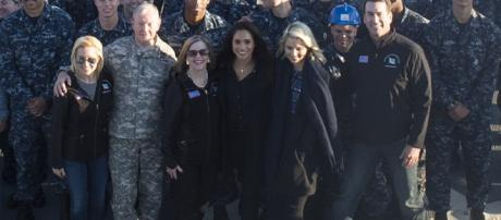 Meghan Markle visiting U.S. service members deployed outside the U.S. in 2014 [Image credit: Myles Cullen/Wikimedia Commons]