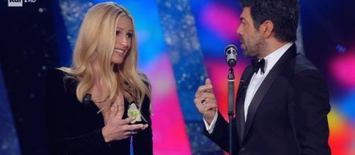 Sanremo 2018, Michelle Hunziekr gaffe in diretta